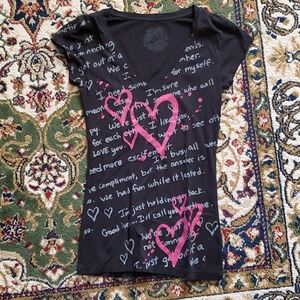 Black Break Up Tshirt with Pink Graffiti Hearts